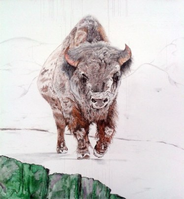 "SOLD / ""Unwavering, unafraid, and unsung, the bison treks on"" Colored Pencil on Wood 24"" x 24"" $1150"
