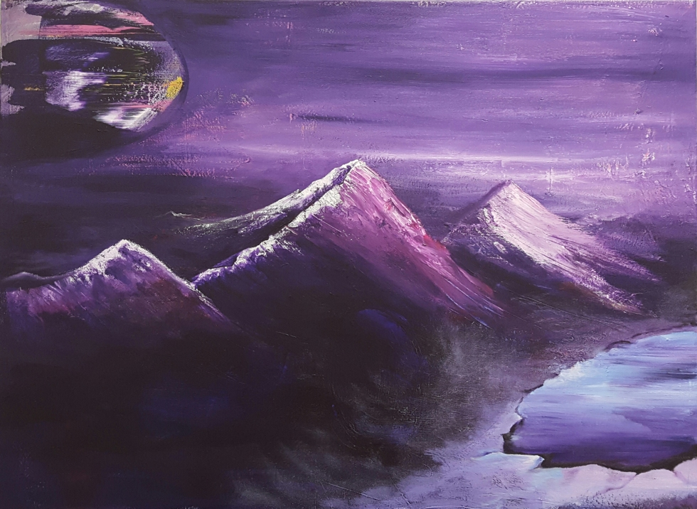 """""""Mist off of the lake"""" 30"""" x 40""""  $650  Acrylic on canvas"""